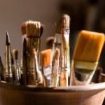 closeup di pennelli per la pittura — Foto Stock