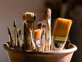 Closeup of brushes for painting — Foto Stock