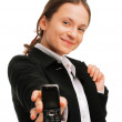 Young business woman displaying a cellph — Stock Photo