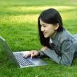 Laptop girl — Stock Photo