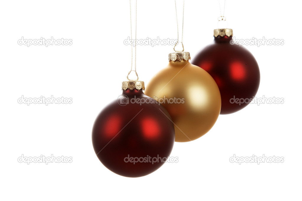 Three hanging christmas tree ornaments (isolated white) — Stock Photo #3721735
