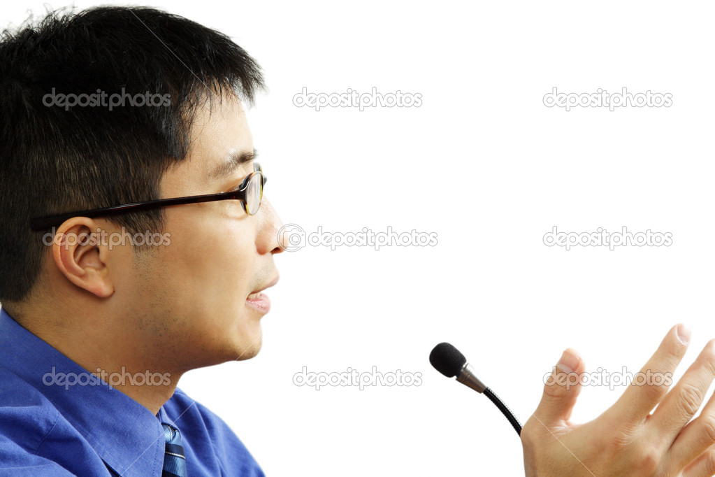 A businessman giving a speech (isolated white) — Stock Photo #3734481