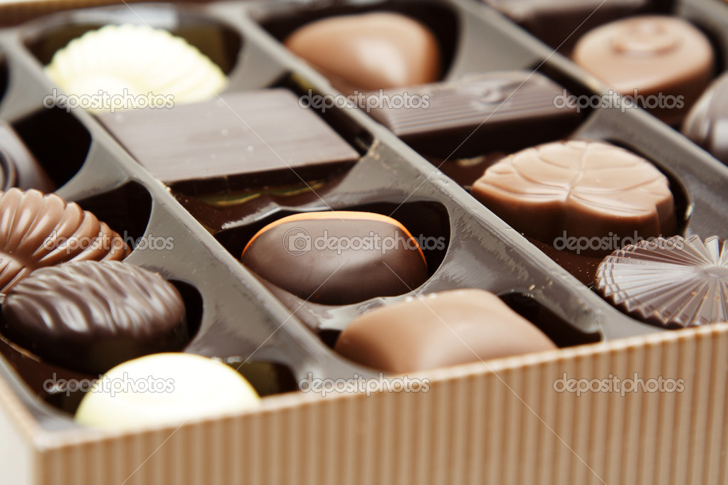 Different variety of chocolates in a box — Stock Photo #3734565