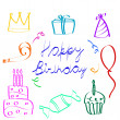 Royalty-Free Stock Vector Image: Sketchy birthday icons