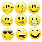 En uppsättning av smileys — Stockvektor