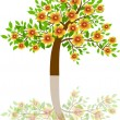Tree with beautiful flowers — Stock Vector
