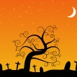 Halloween- a cemetery in the night — Stock Vector