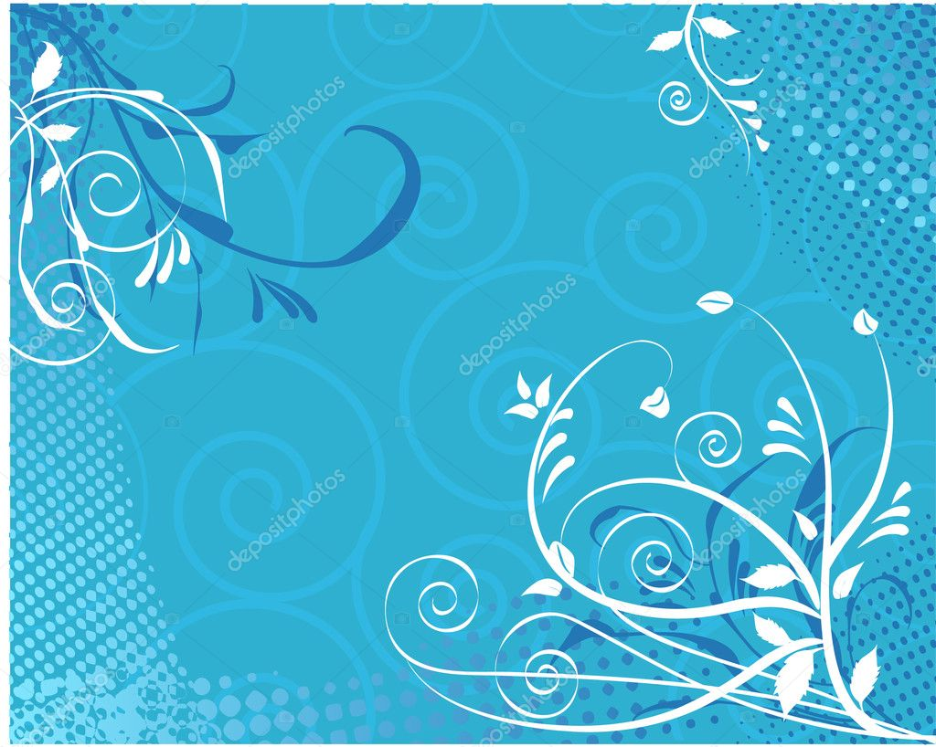 Abstract vector floral swirl background on blue  Stock Vector #3568169