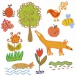 Set of nature symbols and animals — Stock Vector