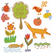 Royalty-Free Stock Vector Image: Set of nature symbols and animals