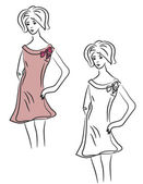 Sketch of fashion girl — Vector de stock