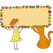 Funny girl and cat with banner — Imagen vectorial