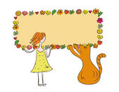 Funny girl and cat with banner — Stockvector