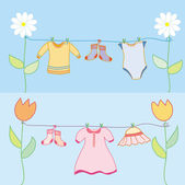 Baby laundry for boy and girl — Stock Vector
