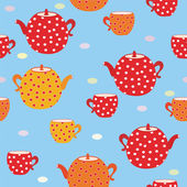 Seamless tea pattern with teapot — Stock Vector