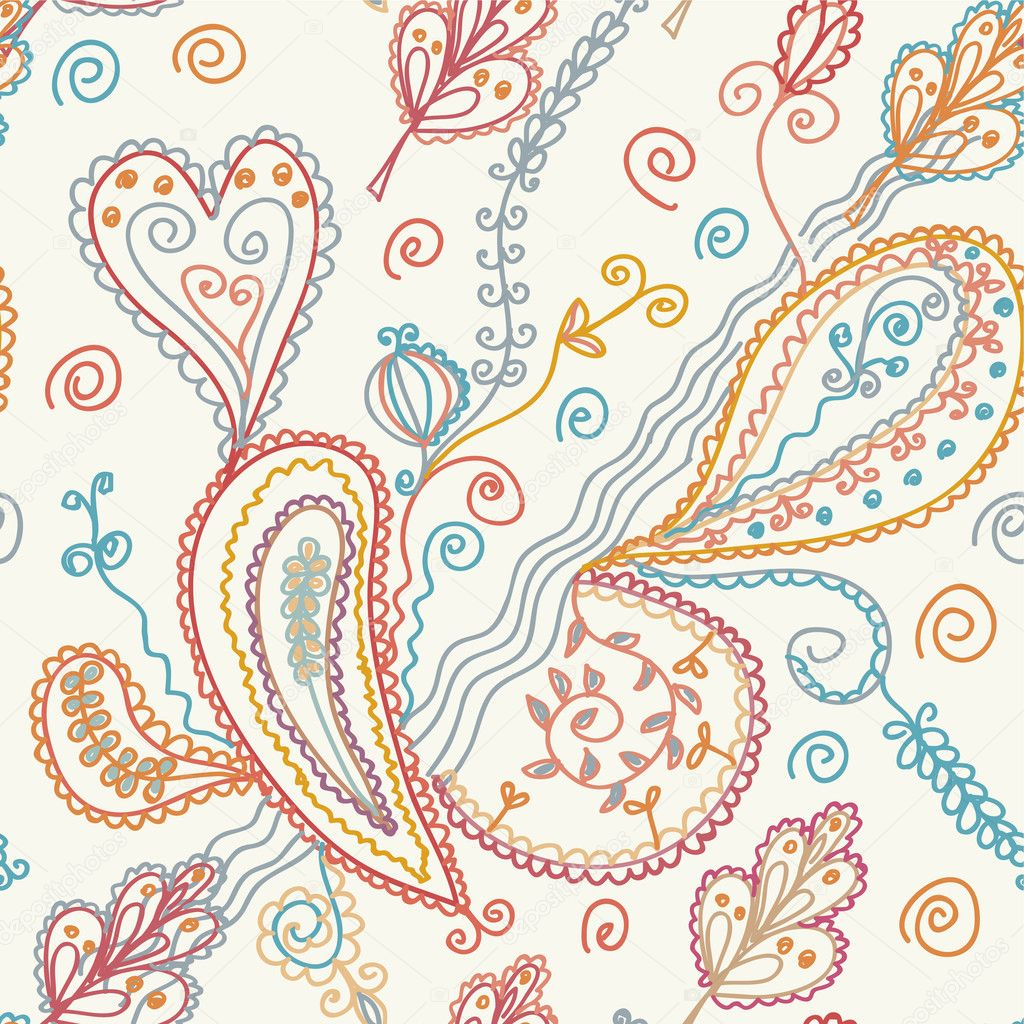 Paisley seamless ornate pattern — Image vectorielle #2838581