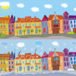 Town in summer and winter — Stock Vector