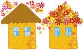 Flower houses — Stock Vector