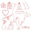 Birthday doodle set — Vector de stock