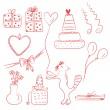 Doğum doodle ayarla — Stok Vektör