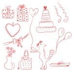 narozeniny doodle sada — Stock vektor