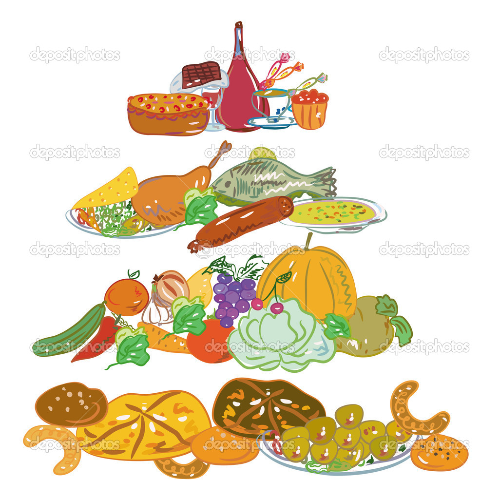 Hand drawn cartoon food pyramid — Stock Vector #2919635