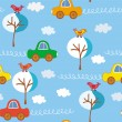 Seamless cute cars pattert — Stock Vector