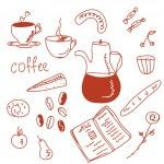 Morning coffee doodles — Stock Vector