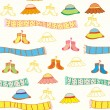Funny baby accessories seamless pattern — Stock Vector