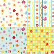 Seamless floral patterns set — Stock Vector