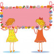 Two girls with banners — Stock Vector