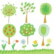 Set with trees — Stock Vector