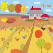 Autumn farm house - Stock Vector