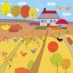 Autumn farm house — Stock Vector #3726561