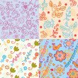Set of floral cute seamless patterns — Stock Vector
