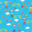 Royalty-Free Stock Vector Image: Cute seamless pattern with boy and bicycle
