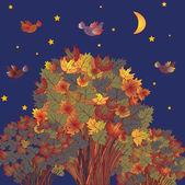 Herbst szene mit vögeln — Stockvektor