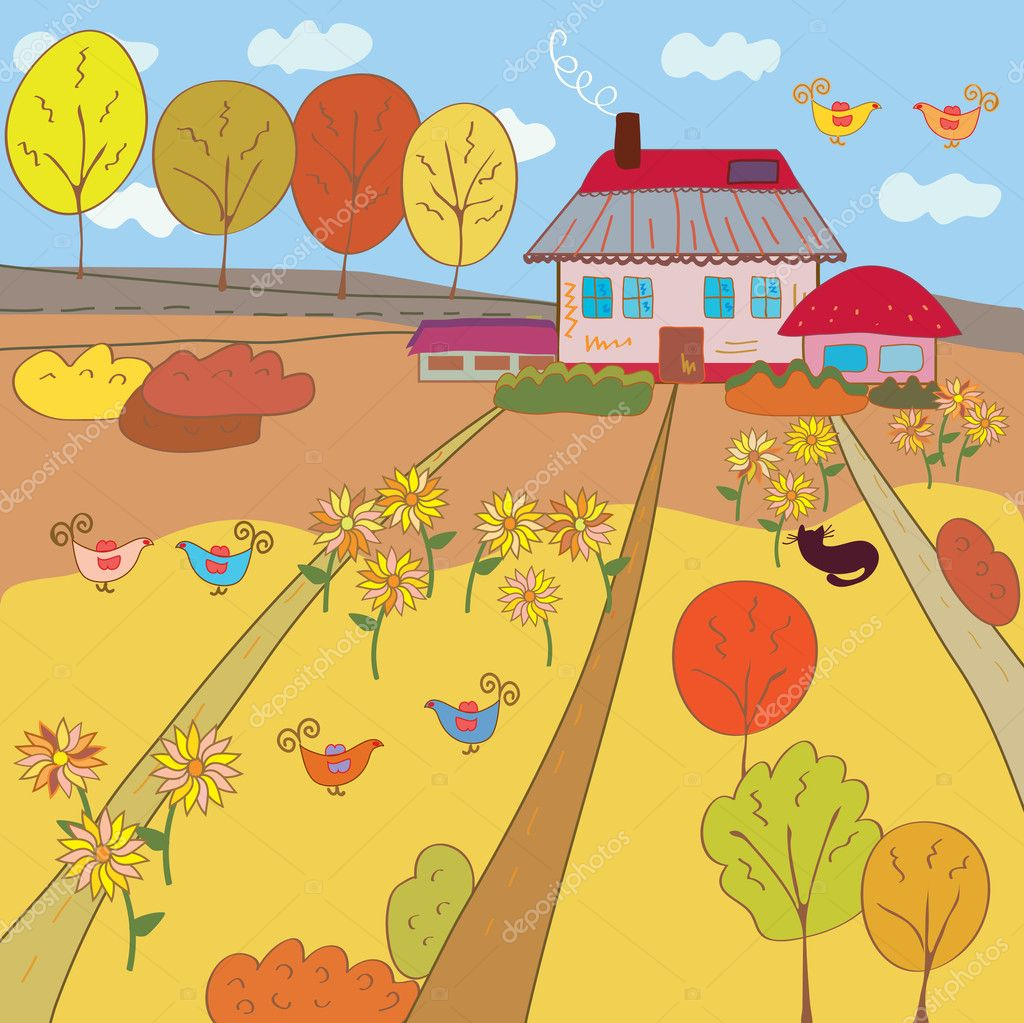 Autumn farm house vector  Stock Vector #3726561