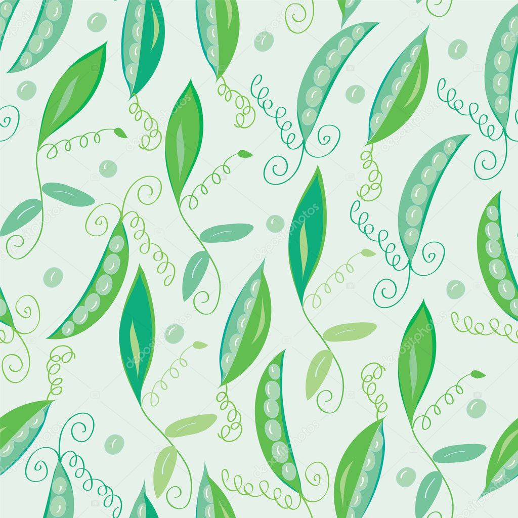 Pea pod seamless green pattern  — ベクター素材ストック #3727059