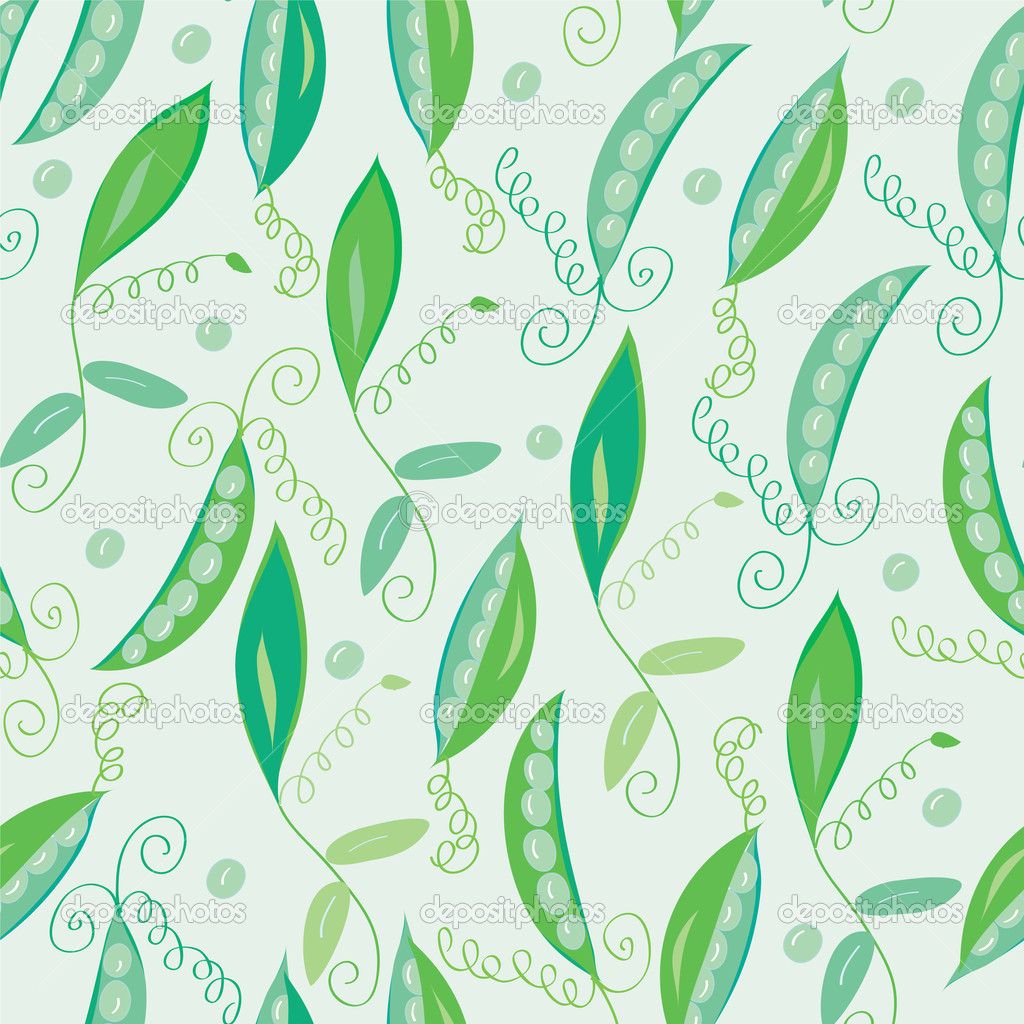Pea pod seamless green pattern  — Stockvectorbeeld #3727059