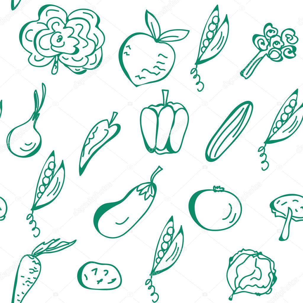 Vegetables hand drawn seamless pattern — Stock Vector #3727077