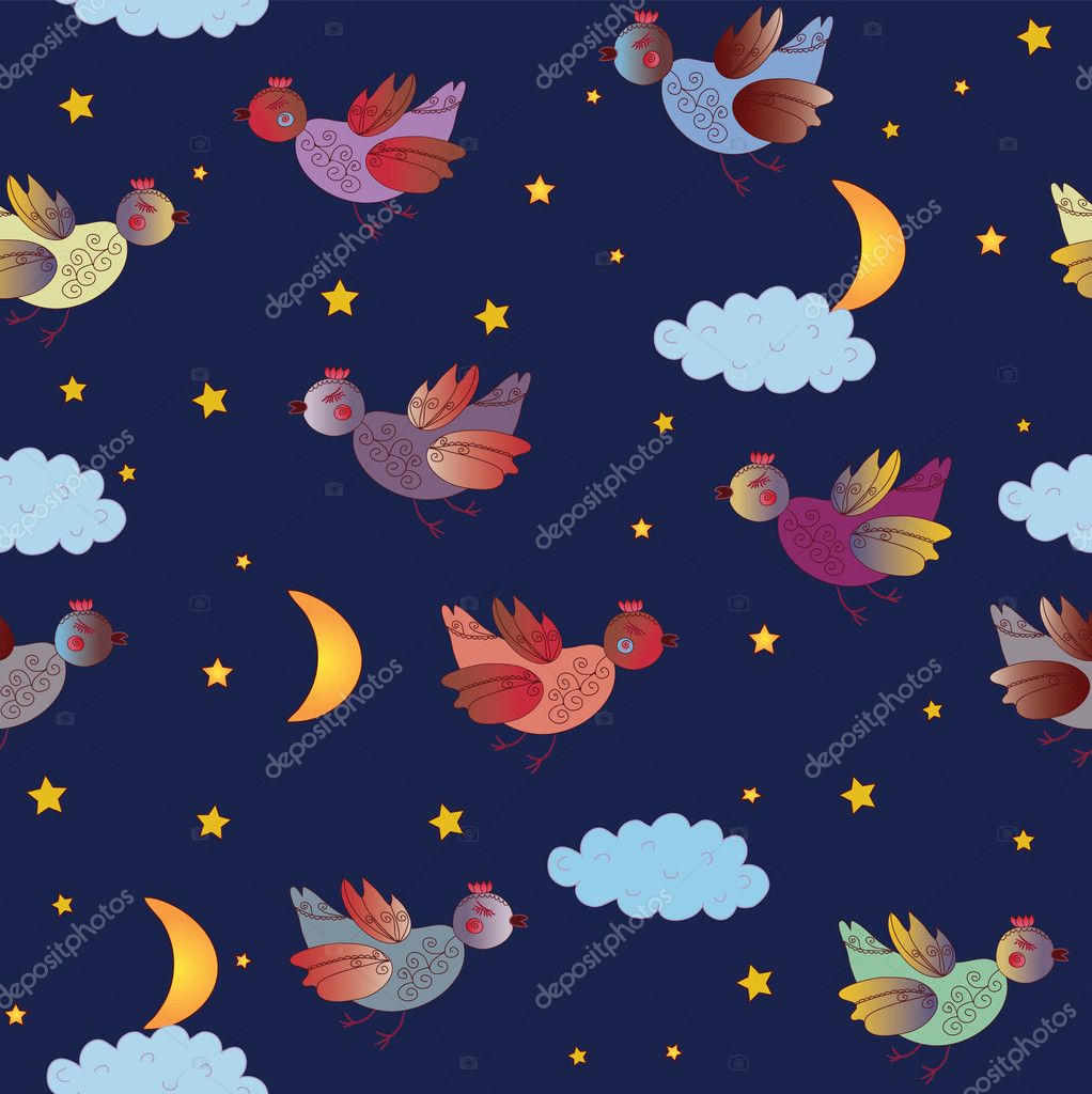 Cute seamless pattern with fantastic birds at night  Stock Vector #3727126