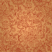 Brown floral seamless pattern — Stock Vector