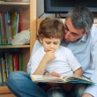 Foto Stock: Man and little boy reading book