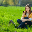 Woman on mobile in the park — Stock Photo #2998337