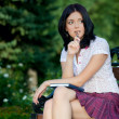Girl sudying in park — Stock Photo