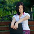 Stock Photo: Girl with laptop in park