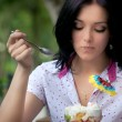 Girl eating ice cream — Stock Photo #3900523