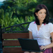 Girl with laptop in park — Stock Photo #3900598