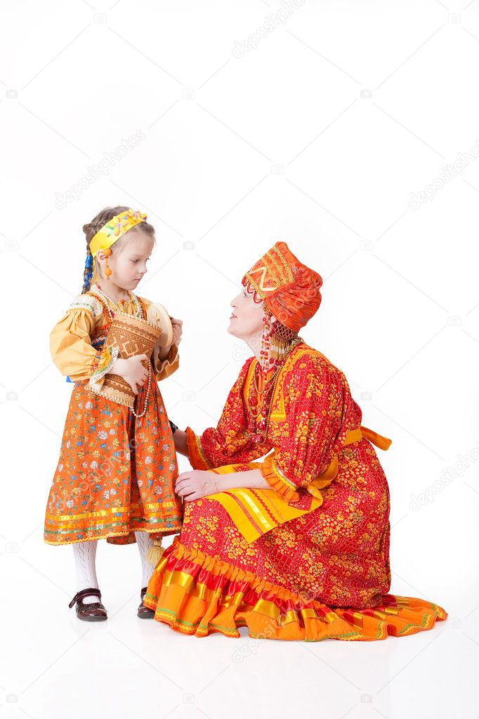 Woman in russian traditional clothing stock image